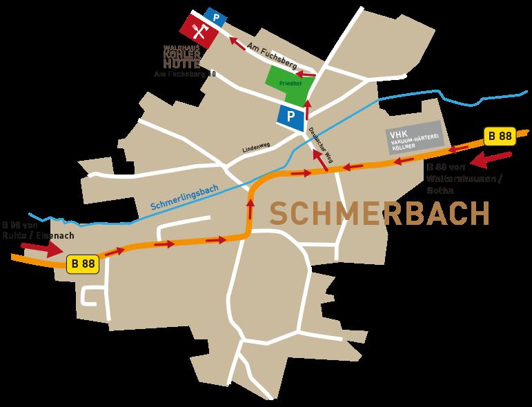 Anfahrt Waldhaus Köhlerhütte - Am Fuchsberg 10, 99891 Waltershausen